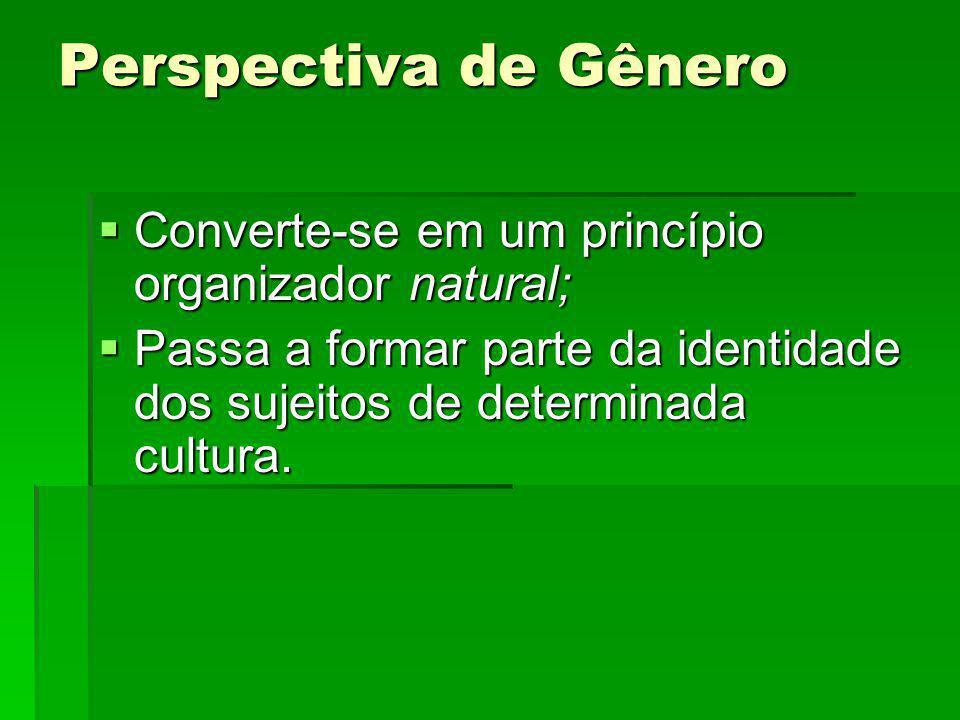 Perspectiva de Gênero Converte-se em um princípio organizador natural; Converte-se em um princípio organizador natural; Passa a formar parte da identi