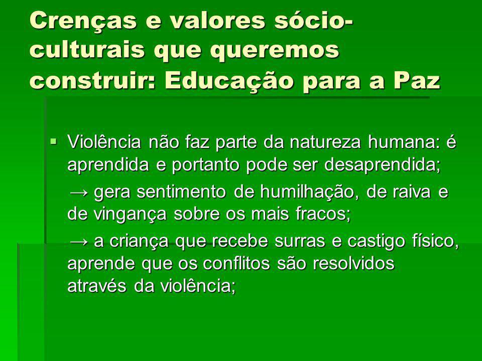 Crenças e valores sócio- culturais que queremos construir: Educação para a Paz Violência não faz parte da natureza humana: é aprendida e portanto pode