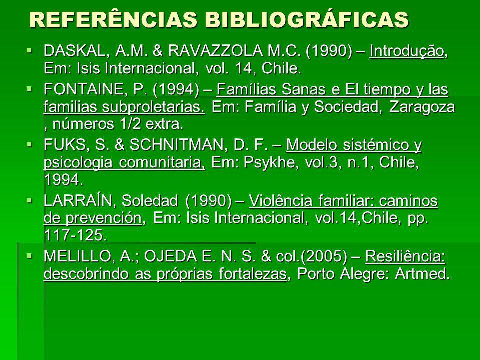 REFERÊNCIAS BIBLIOGRÁFICAS DASKAL, A.M. & RAVAZZOLA M.C. (1990) – Introdução, Em: Isis Internacional, vol. 14, Chile. DASKAL, A.M. & RAVAZZOLA M.C. (1