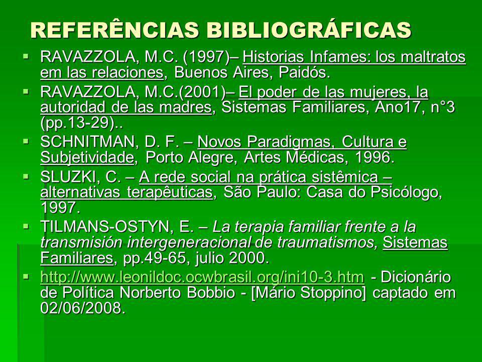 REFERÊNCIAS BIBLIOGRÁFICAS RAVAZZOLA, M.C. (1997)– Historias Infames: los maltratos em las relaciones, Buenos Aires, Paidós. RAVAZZOLA, M.C. (1997)– H