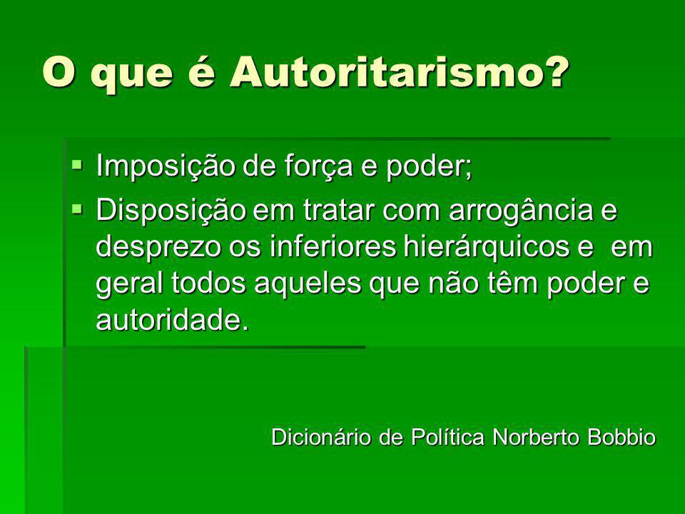 O que é Autoritarismo? Imposição de força e poder; Imposição de força e poder; Disposição em tratar com arrogância e desprezo os inferiores hierárquic