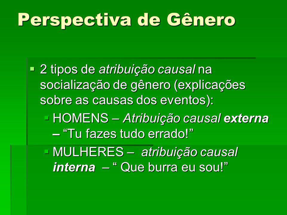 Perspectiva de Gênero 2 tipos de atribuição causal na socialização de gênero (explicações sobre as causas dos eventos): 2 tipos de atribuição causal n