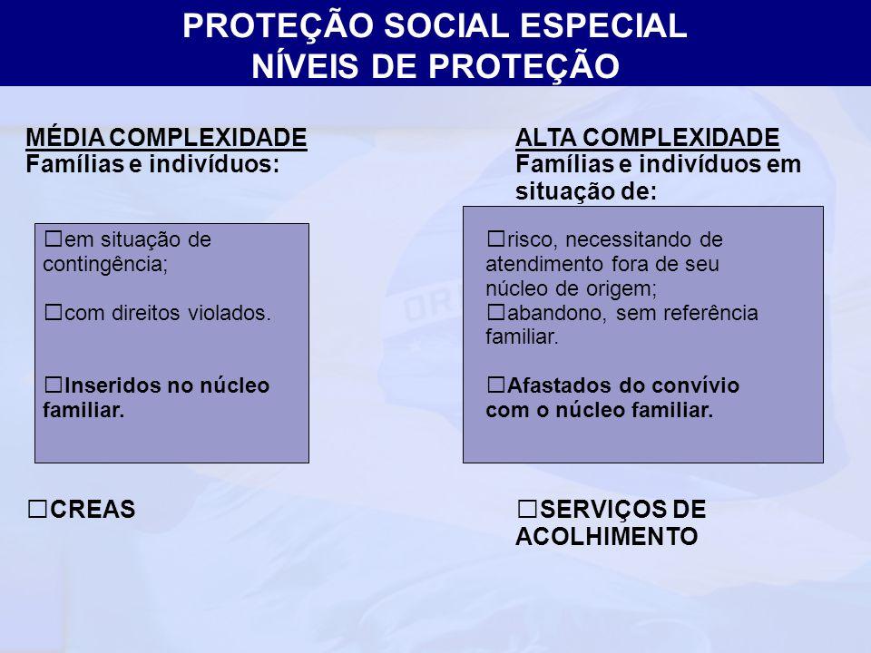 Ministério do Desenvolvimento Social e Combate à Fome Secretaria Nacional de Assistência Social Departamento de Proteção Social Especial MÉDIA COMPLEX