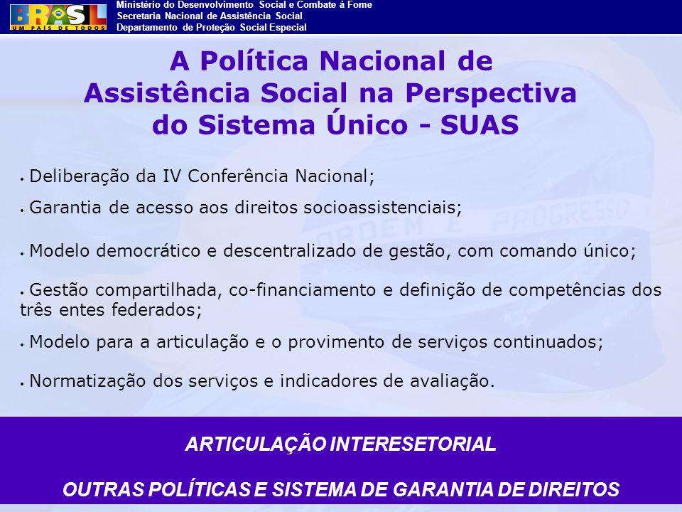 Ministério do Desenvolvimento Social e Combate à Fome Secretaria Nacional de Assistência Social Departamento de Proteção Social Especial Deliberação d