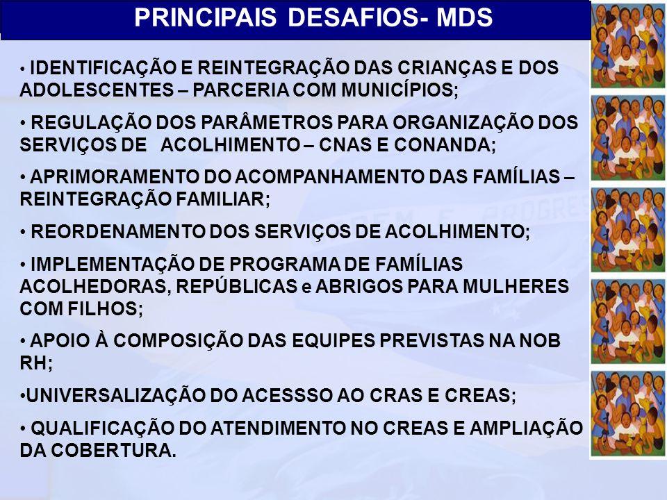 Ministério do Desenvolvimento Social e Combate à Fome Secretaria Nacional de Assistência Social Departamento de Proteção Social Especial PRINCIPAIS DE