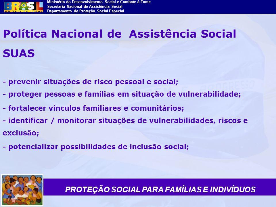 Ministério do Desenvolvimento Social e Combate à Fome Secretaria Nacional de Assistência Social Departamento de Proteção Social Especial Política Naci