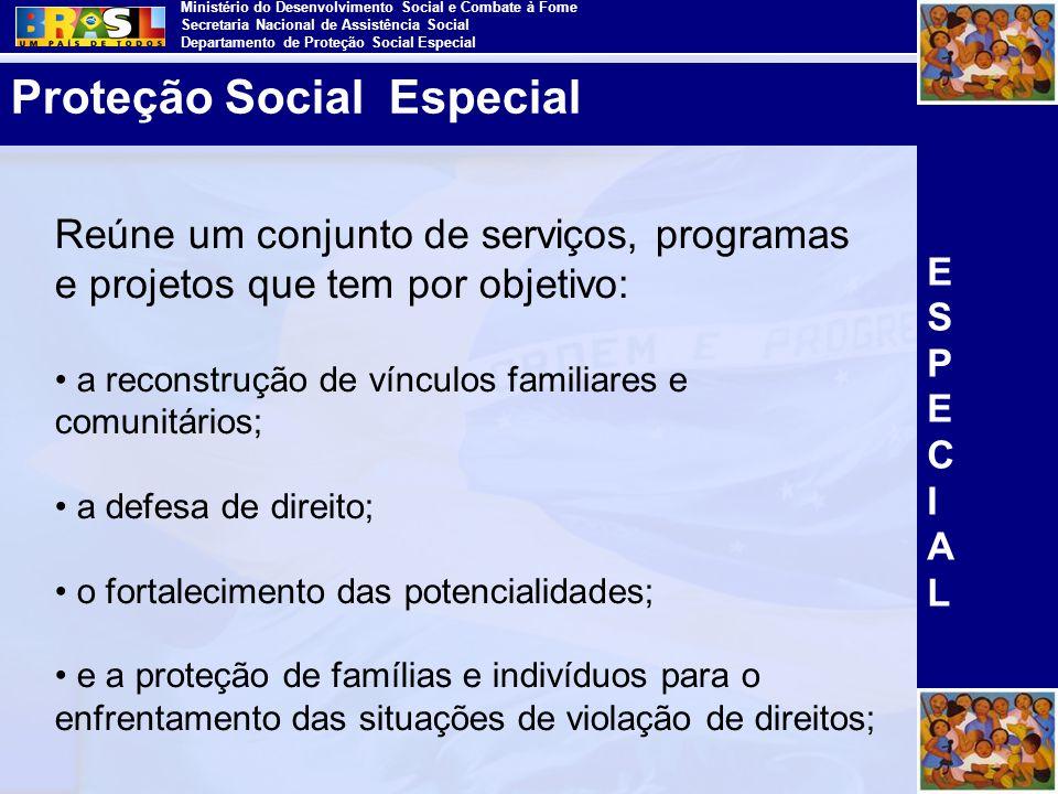 Ministério do Desenvolvimento Social e Combate à Fome Secretaria Nacional de Assistência Social Departamento de Proteção Social Especial Reúne um conj