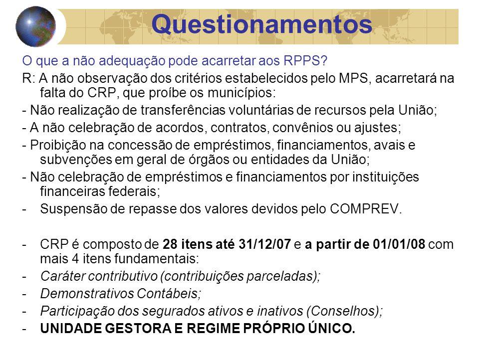 O que a não adequação pode acarretar aos RPPS.