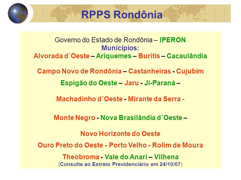 Governo do Estado de Rondônia – IPERON Municípios: Alvorada d´Oeste – Ariquemes – Buritis – Cacaulândia Campo Novo de Rondônia – Castanheiras - Cujubim Espigão do Oeste – Jaru - Ji-Paraná – Machadinho d´Oeste - Mirante da Serra - Monte Negro - Nova Brasilândia d´Oeste – Novo Horizonte do Oeste Ouro Preto do Oeste - Porto Velho - Rolim de Moura Theobroma - Vale do Anari – Vilhena (Consulta ao Extrato Previdenciário em 24/10/07) RPPS Rondônia