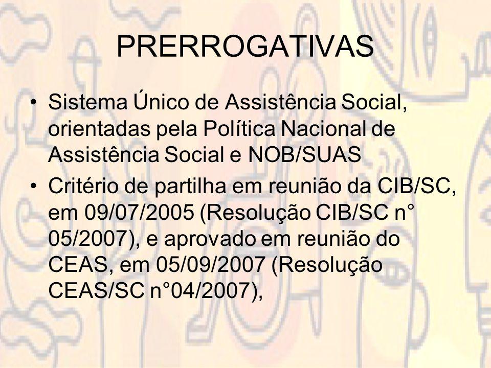 PRERROGATIVAS Sistema Único de Assistência Social, orientadas pela Política Nacional de Assistência Social e NOB/SUAS Critério de partilha em reunião da CIB/SC, em 09/07/2005 (Resolução CIB/SC n° 05/2007), e aprovado em reunião do CEAS, em 05/09/2007 (Resolução CEAS/SC n°04/2007),