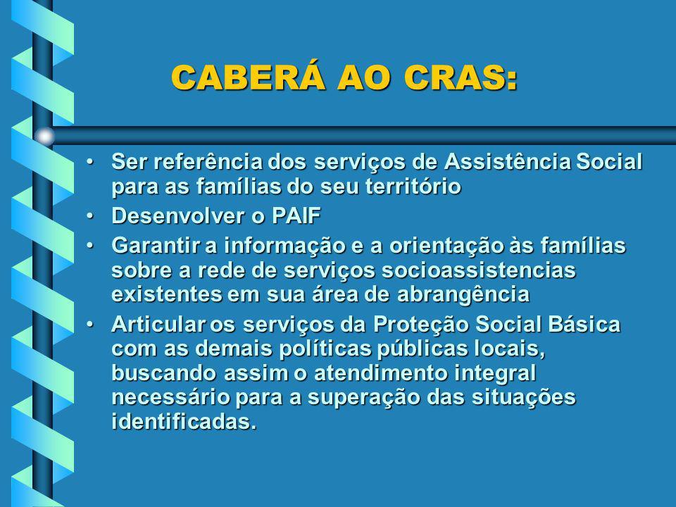 CABERÁ AO CRAS: CABERÁ AO CRAS: Ser referência dos serviços de Assistência Social para as famílias do seu territórioSer referência dos serviços de Ass