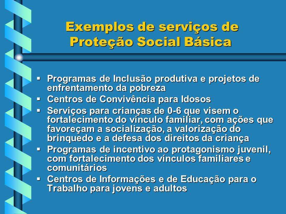 Exemplos de serviços de Proteção Social Básica Exemplos de serviços de Proteção Social Básica Programas de Inclusão produtiva e projetos de enfrentamento da pobreza Programas de Inclusão produtiva e projetos de enfrentamento da pobreza Centros de Convivência para Idosos Centros de Convivência para Idosos Serviços para crianças de 0-6 que visem o fortalecimento do vínculo familiar, com ações que favoreçam a socialização, a valorização do brinquedo e a defesa dos direitos da criança Serviços para crianças de 0-6 que visem o fortalecimento do vínculo familiar, com ações que favoreçam a socialização, a valorização do brinquedo e a defesa dos direitos da criança Programas de incentivo ao protagonismo juvenil, com fortalecimento dos vínculos familiares e comunitários Programas de incentivo ao protagonismo juvenil, com fortalecimento dos vínculos familiares e comunitários Centros de Informações e de Educação para o Trabalho para jovens e adultos Centros de Informações e de Educação para o Trabalho para jovens e adultos