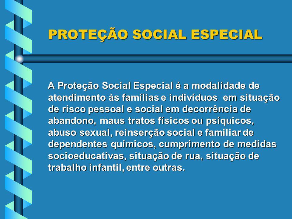 PROTEÇÃO SOCIAL ESPECIAL PROTEÇÃO SOCIAL ESPECIAL A Proteção Social Especial é a modalidade de atendimento às famílias e indivíduos em situação de ris