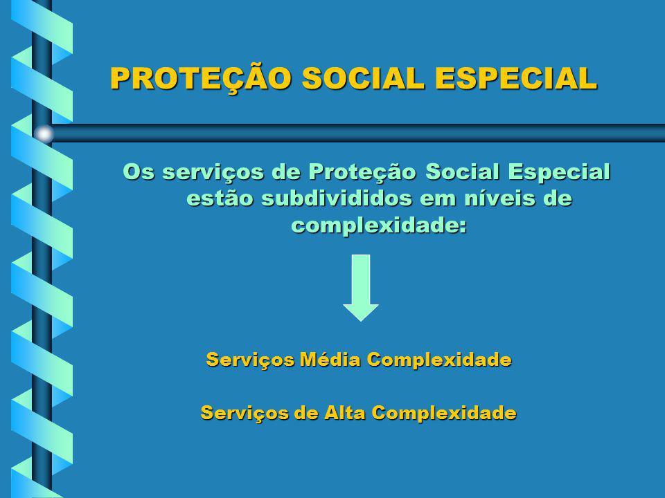 PROTEÇÃO SOCIAL ESPECIAL PROTEÇÃO SOCIAL ESPECIAL Os serviços de Proteção Social Especial estão subdivididos em níveis de complexidade: Serviços Média Complexidade Serviços Média Complexidade Serviços de Alta Complexidade Serviços de Alta Complexidade