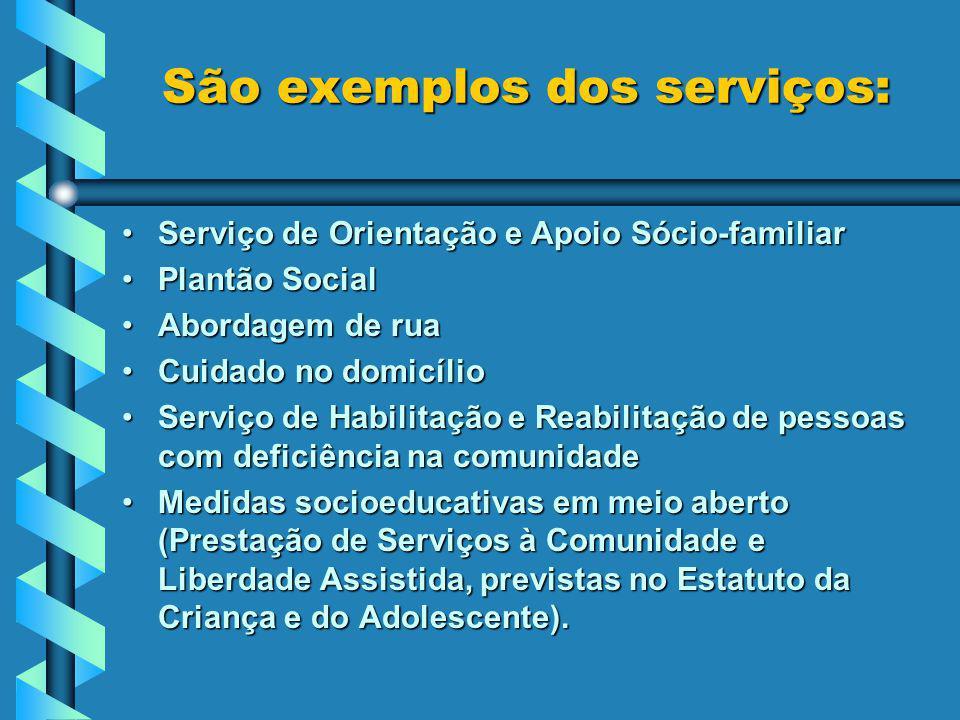 São exemplos dos serviços: São exemplos dos serviços: Serviço de Orientação e Apoio Sócio-familiarServiço de Orientação e Apoio Sócio-familiar Plantão