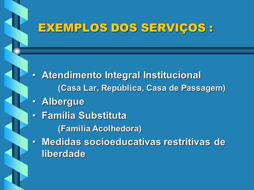 EXEMPLOS DOS SERVIÇOS : EXEMPLOS DOS SERVIÇOS : Atendimento Integral InstitucionalAtendimento Integral Institucional (Casa Lar, República, Casa de Pas