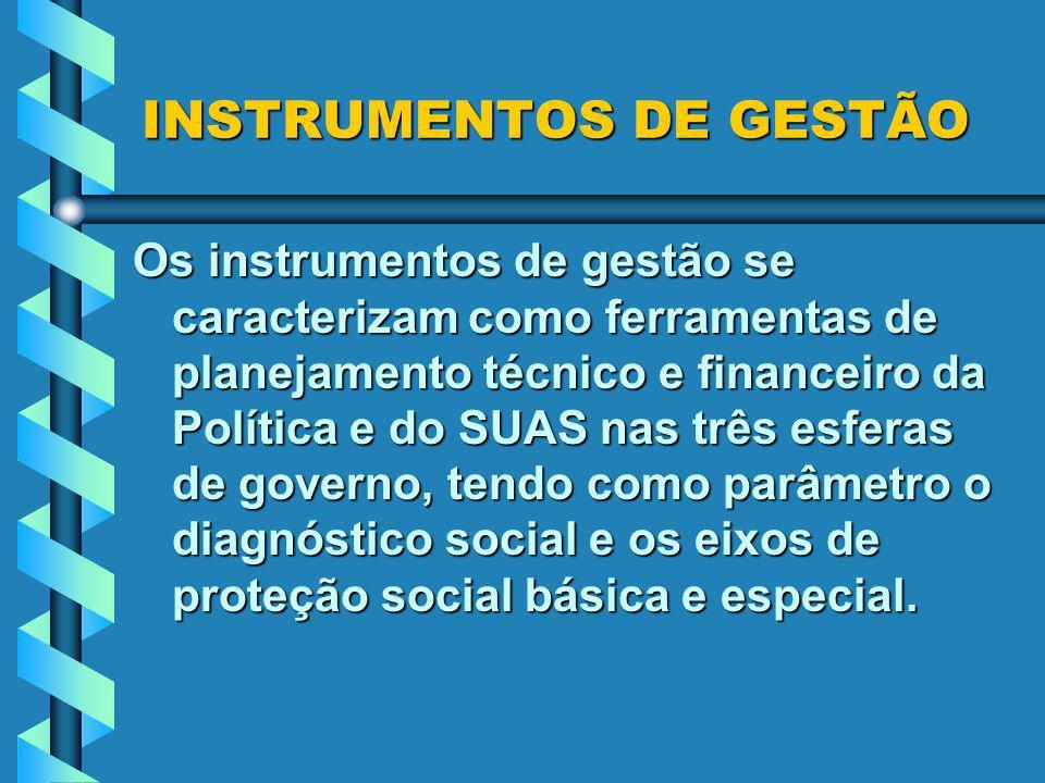 INSTRUMENTOS DE GESTÃO Os instrumentos de gestão se caracterizam como ferramentas de planejamento técnico e financeiro da Política e do SUAS nas três esferas de governo, tendo como parâmetro o diagnóstico social e os eixos de proteção social básica e especial.