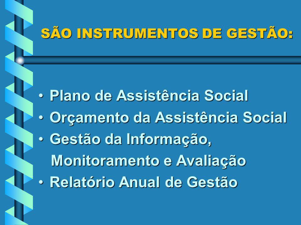 SÃO INSTRUMENTOS DE GESTÃO: Plano de Assistência SocialPlano de Assistência Social Orçamento da Assistência SocialOrçamento da Assistência Social Gest