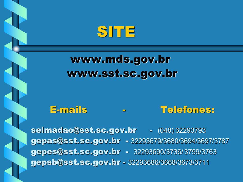 SITE SITE www.mds.gov.br www.mds.gov.br www.sst.sc.gov.br www.sst.sc.gov.br E-mails - Telefones: E-mails - Telefones: selmadao@sst.sc.gov.br - (048) 32293793 gepas@sst.sc.gov.br - 32293679/3680/3694/3697/3787 gepes@sst.sc.gov.br - 32293690/3736/ 3759/3763 gepsb@sst.sc.gov.br - 32293686/3668/3673/3711