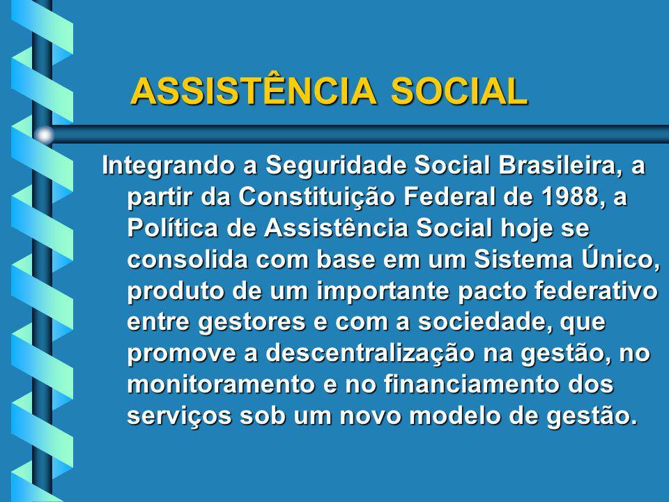 ASSISTÊNCIA SOCIAL ASSISTÊNCIA SOCIAL Integrando a Seguridade Social Brasileira, a partir da Constituição Federal de 1988, a Política de Assistência S
