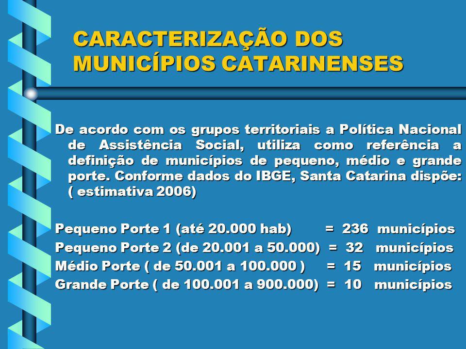 CARACTERIZAÇÃO DOS MUNICÍPIOS CATARINENSES De acordo com os grupos territoriais a Política Nacional de Assistência Social, utiliza como referência a definição de municípios de pequeno, médio e grande porte.