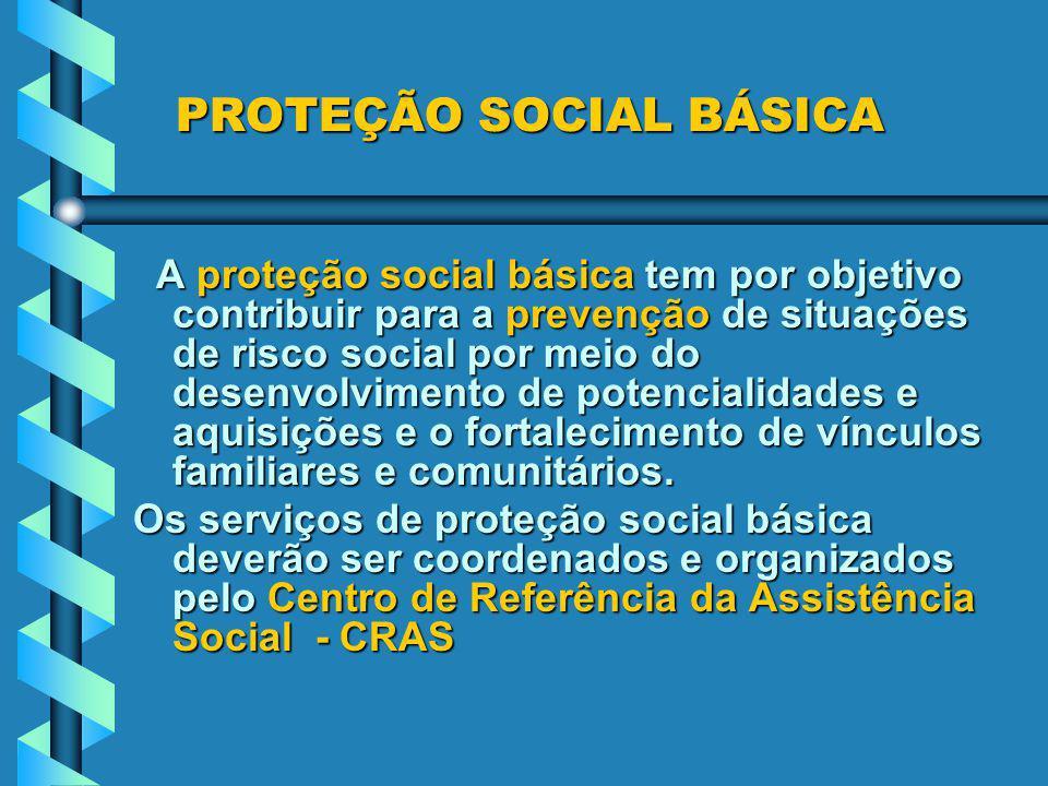PROTEÇÃO SOCIAL BÁSICA A proteção social básica tem por objetivo contribuir para a prevenção de situações de risco social por meio do desenvolvimento