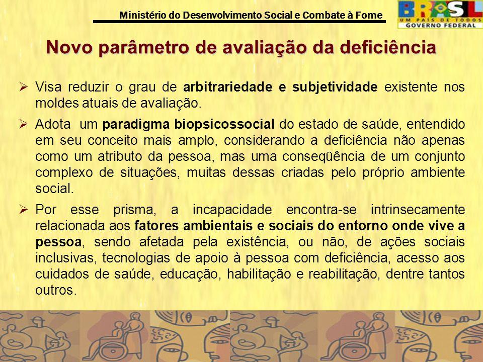 Ministério do Desenvolvimento Social e Combate à Fome Novo parâmetro de avaliação da deficiência Visa reduzir o grau de arbitrariedade e subjetividade