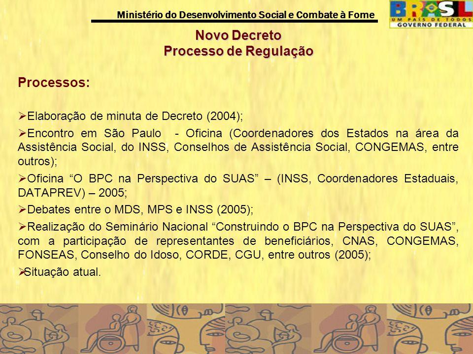 Ministério do Desenvolvimento Social e Combate à Fome Novo Decreto Processo de Regulação Processos: Elaboração de minuta de Decreto (2004); Encontro e