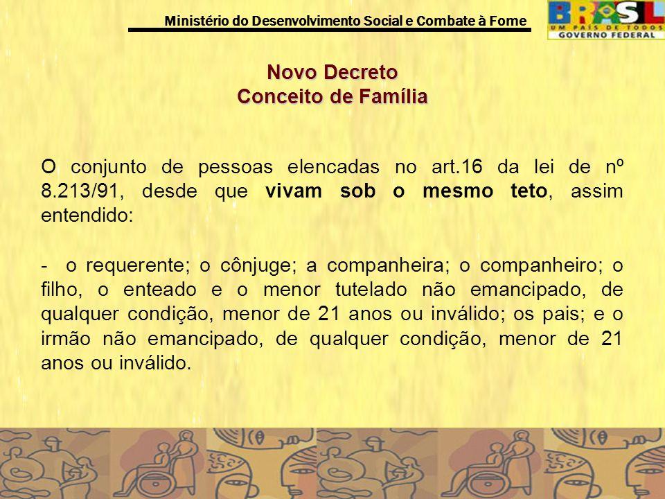 Ministério do Desenvolvimento Social e Combate à Fome Novo Decreto Conceito de Família O conjunto de pessoas elencadas no art.16 da lei de nº 8.213/91