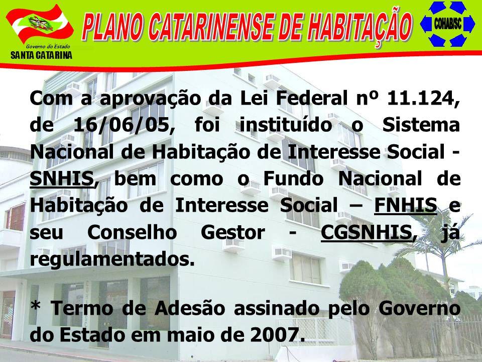 Governo do Estado SANTA CATARINA Com a aprovação da Lei Federal nº 11.124, de 16/06/05, foi instituído o Sistema Nacional de Habitação de Interesse So