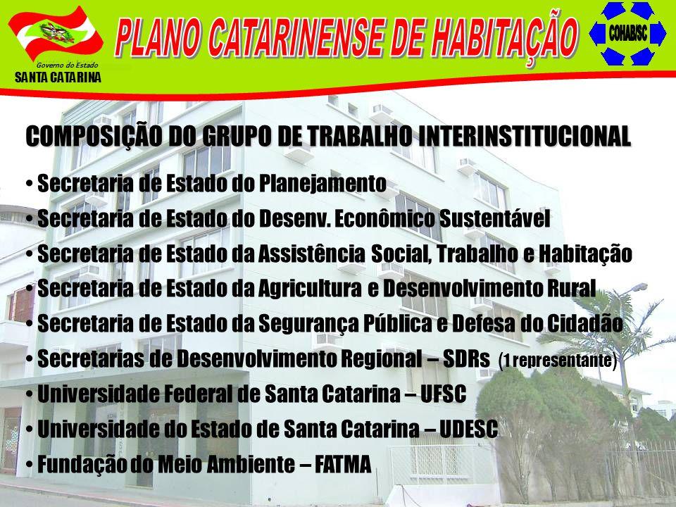 Governo do Estado SANTA CATARINA COMPOSIÇÃO DO GRUPO DE TRABALHO INTERINSTITUCIONAL Secretaria de Estado do Planejamento Secretaria de Estado do Desen