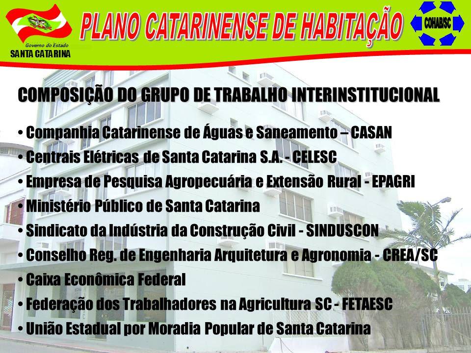 Governo do Estado SANTA CATARINA COMPOSIÇÃO DO GRUPO DE TRABALHO INTERINSTITUCIONAL Companhia Catarinense de Águas e Saneamento – CASAN Centrais Elétr