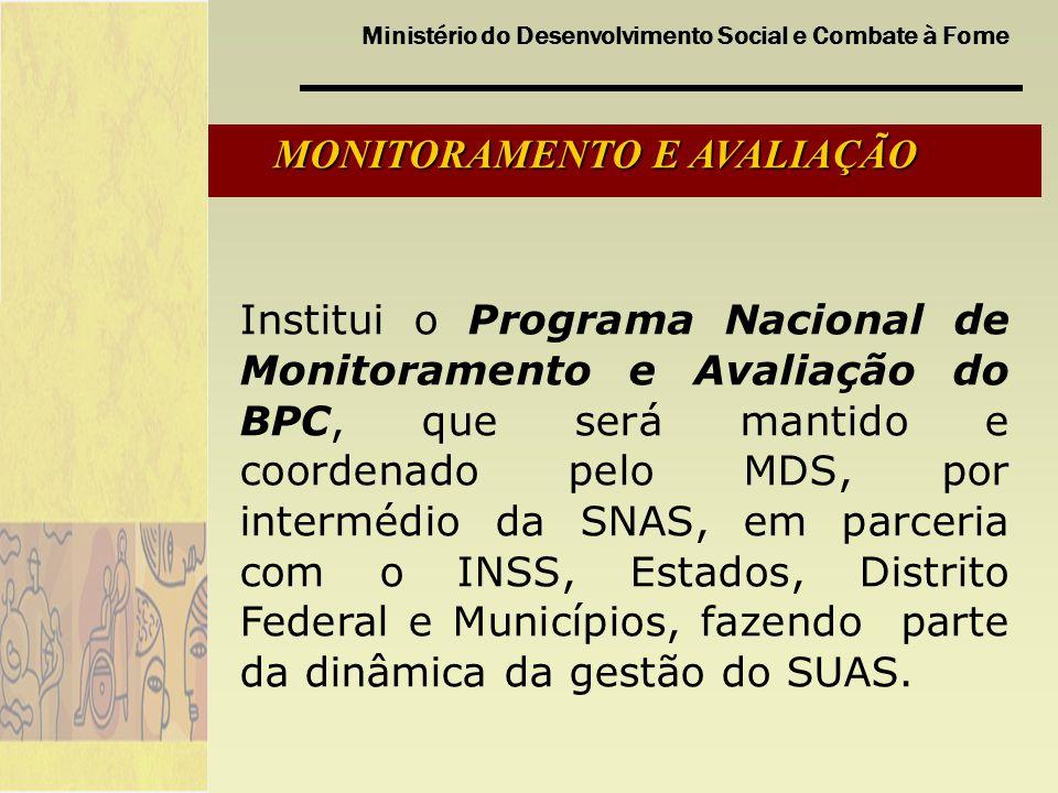 Ministério do Desenvolvimento Social e Combate à Fome MONITORAMENTO E AVALIAÇÃO Institui o Programa Nacional de Monitoramento e Avaliação do BPC, que