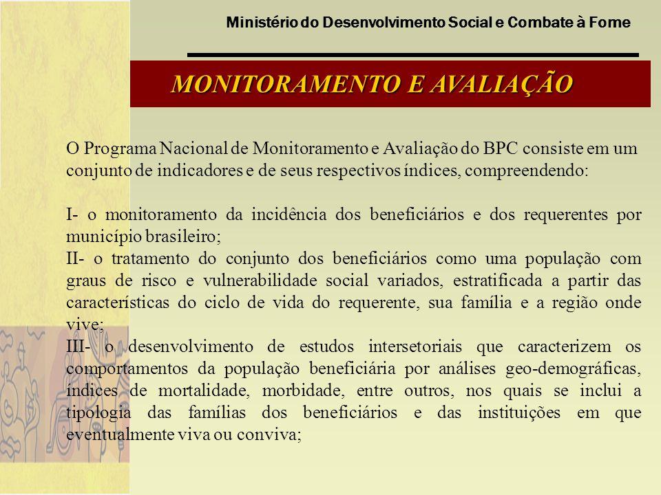 Ministério do Desenvolvimento Social e Combate à Fome MONITORAMENTO E AVALIAÇÃO O Programa Nacional de Monitoramento e Avaliação do BPC consiste em um