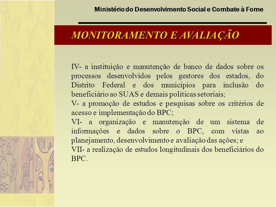 Ministério do Desenvolvimento Social e Combate à Fome MONITORAMENTO E AVALIAÇÃO IV- a instituição e manutenção de banco de dados sobre os processos de