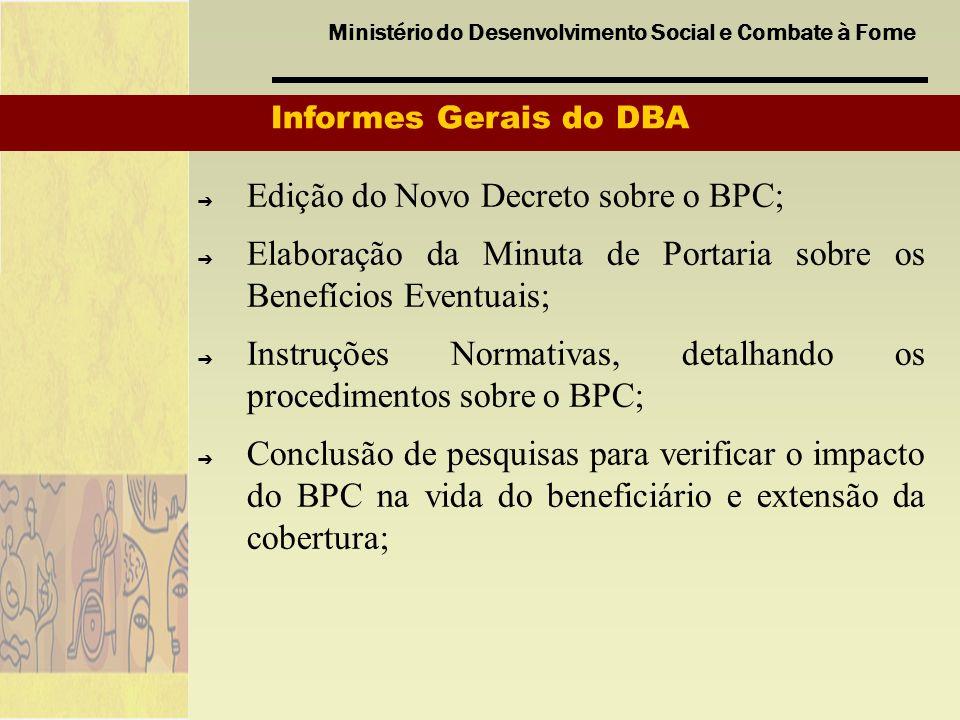 Ministério do Desenvolvimento Social e Combate à Fome Informes Gerais do DBA Edição do Novo Decreto sobre o BPC; Elaboração da Minuta de Portaria sobr