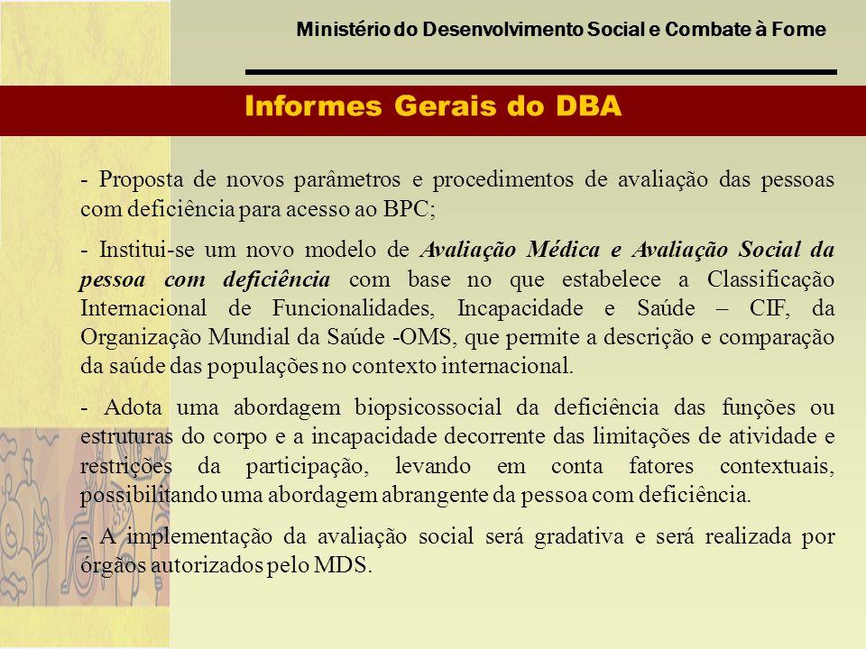 Ministério do Desenvolvimento Social e Combate à Fome Informes Gerais do DBA - Proposta de novos parâmetros e procedimentos de avaliação das pessoas c