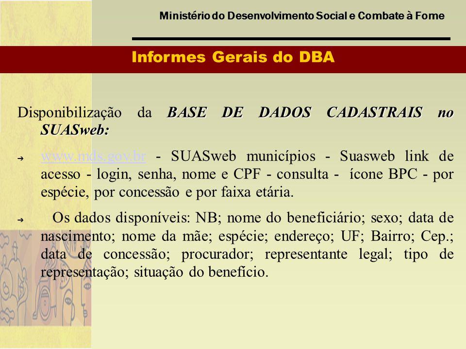 Ministério do Desenvolvimento Social e Combate à Fome Informes Gerais do DBA BASE DE DADOS CADASTRAIS no SUASweb: Disponibilização da BASE DE DADOS CA