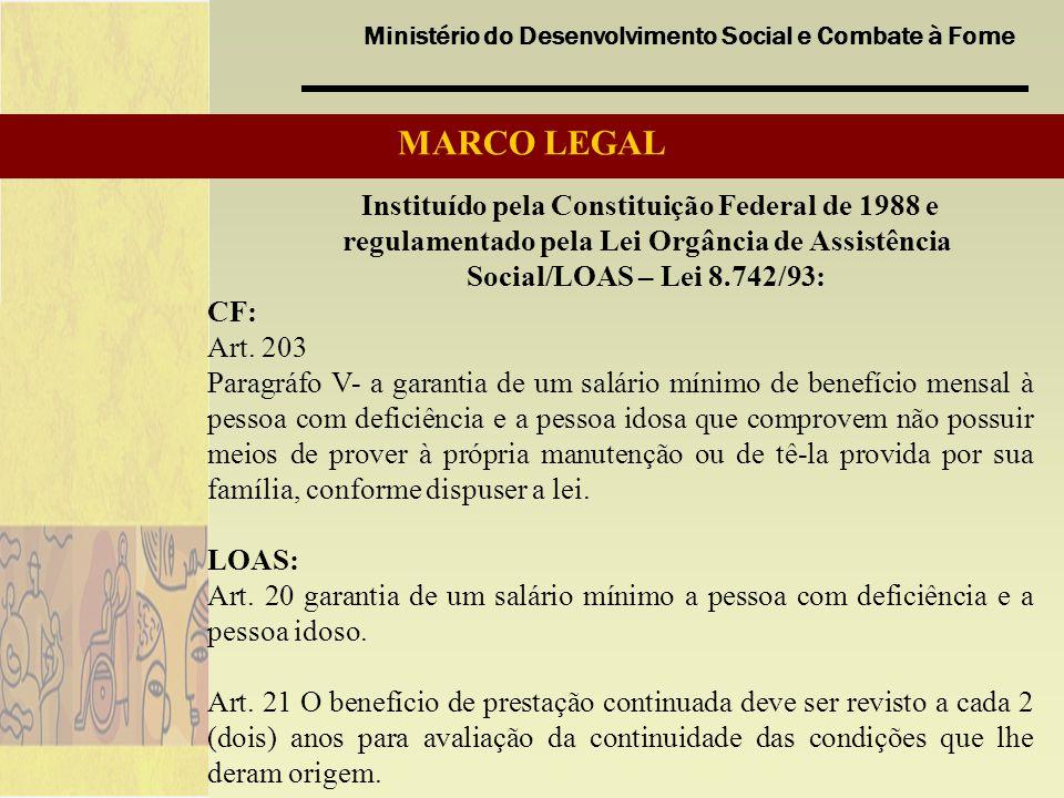 Ministério do Desenvolvimento Social e Combate à Fome MARCO LEGAL Instituído pela Constituição Federal de 1988 e regulamentado pela Lei Orgância de As