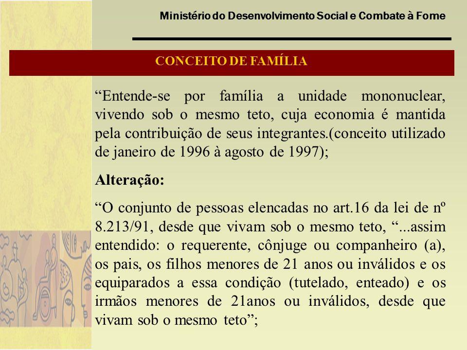 Ministério do Desenvolvimento Social e Combate à Fome CONCEITO DE FAMÍLIA Entende-se por família a unidade mononuclear, vivendo sob o mesmo teto, cuja