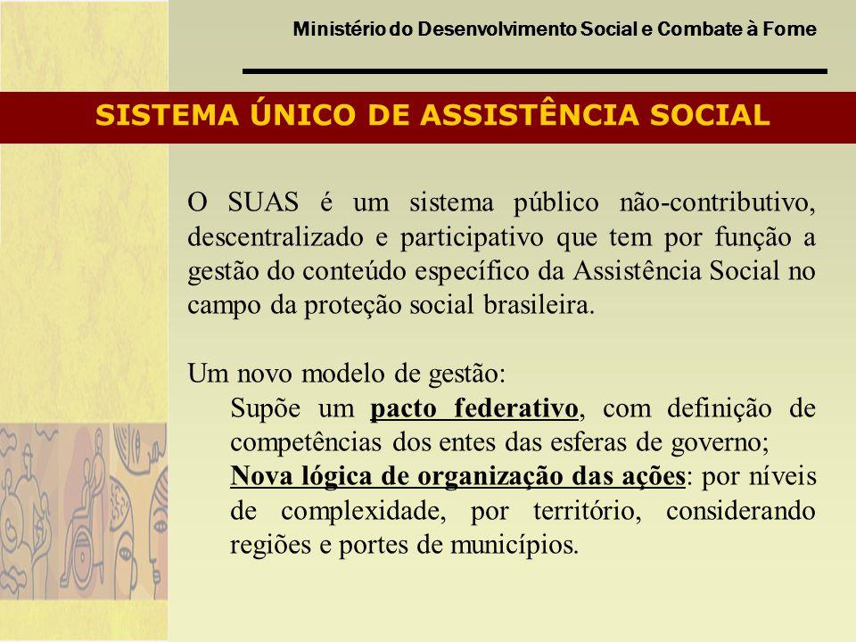 Ministério do Desenvolvimento Social e Combate à Fome SISTEMA ÚNICO DE ASSISTÊNCIA SOCIAL O SUAS é um sistema público não-contributivo, descentralizad