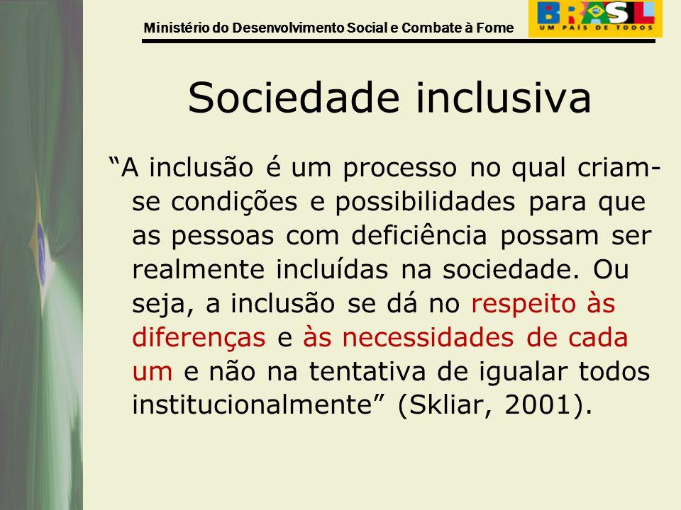 Ministério do Desenvolvimento Social e Combate à Fome Sociedade inclusiva A inclusão é um processo no qual criam- se condições e possibilidades para q