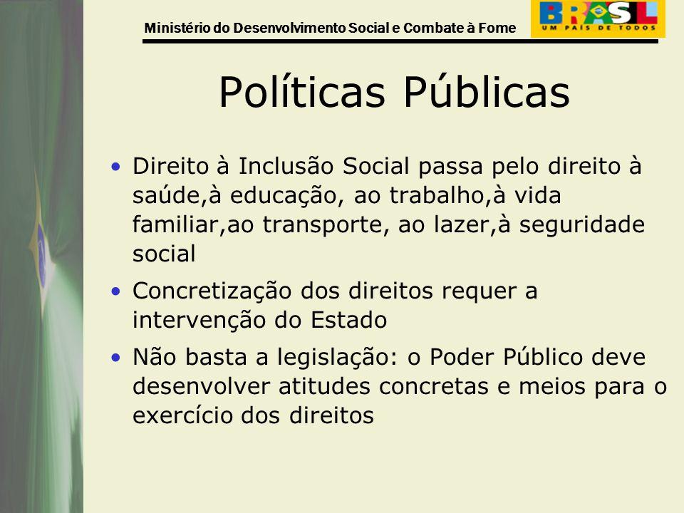 Ministério do Desenvolvimento Social e Combate à Fome Políticas Públicas Direito à Inclusão Social passa pelo direito à saúde,à educação, ao trabalho,