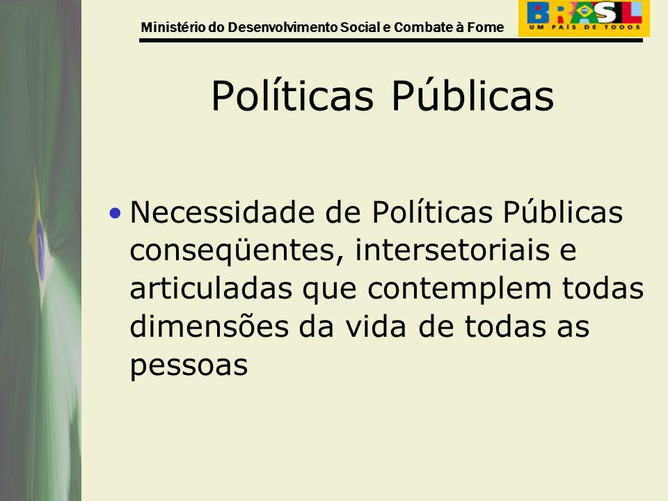 Ministério do Desenvolvimento Social e Combate à Fome Políticas Públicas Necessidade de Políticas Públicas conseqüentes, intersetoriais e articuladas