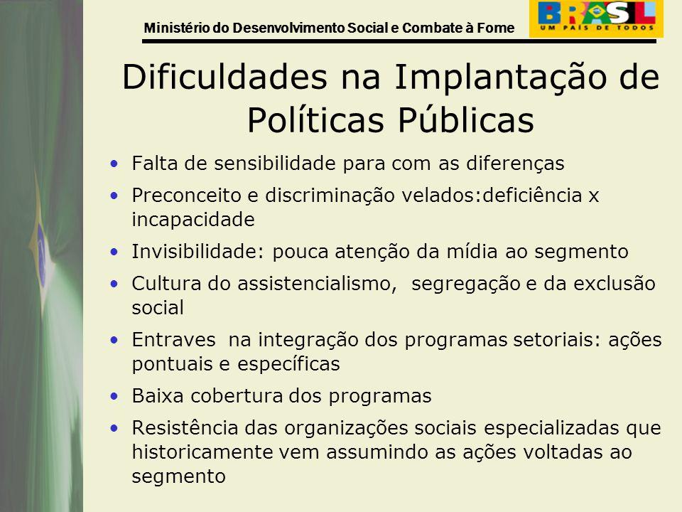Ministério do Desenvolvimento Social e Combate à Fome Dificuldades na Implantação de Políticas Públicas Falta de sensibilidade para com as diferenças