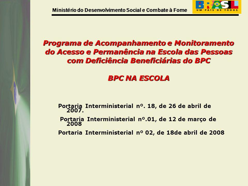 Ministério do Desenvolvimento Social e Combate à Fome Programa de Acompanhamento e Monitoramento do Acesso e Permanência na Escola das Pessoas com Def