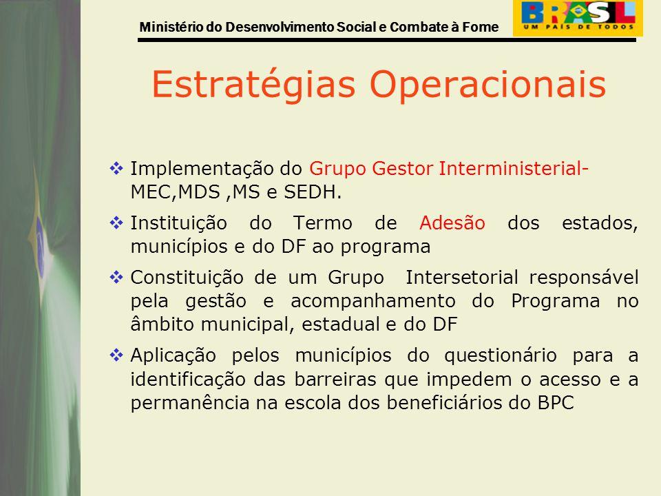 Ministério do Desenvolvimento Social e Combate à Fome Estratégias Operacionais Implementação do Grupo Gestor Interministerial- MEC,MDS,MS e SEDH. Inst