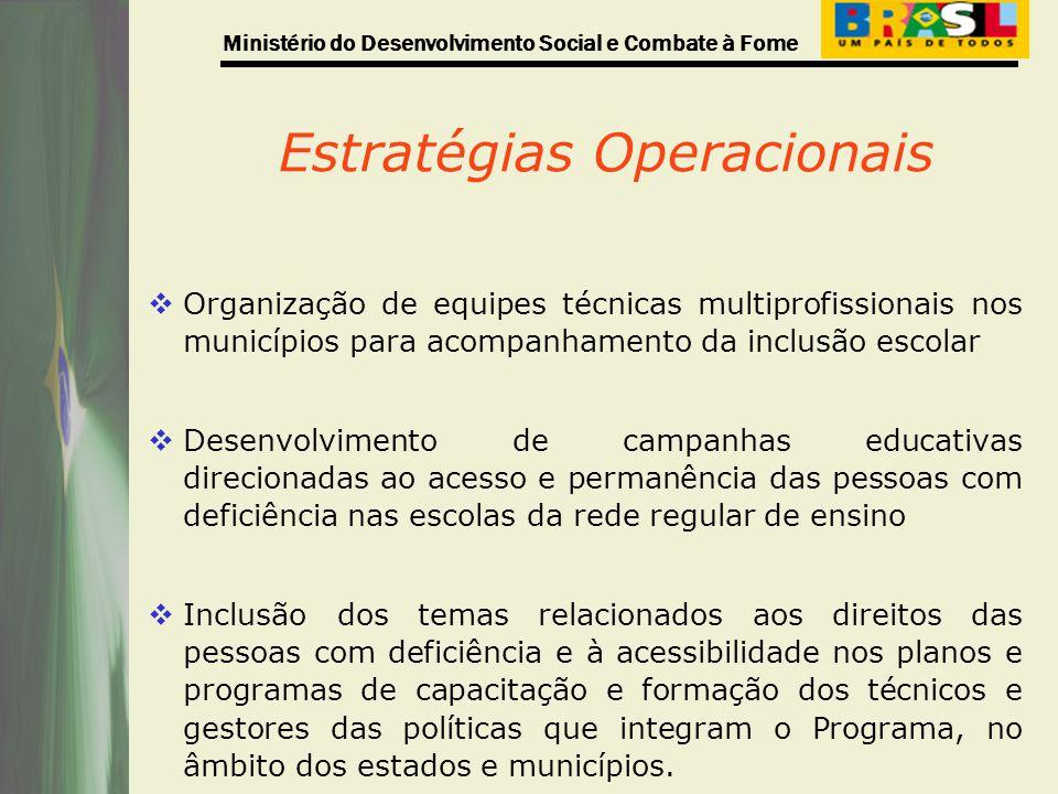 Ministério do Desenvolvimento Social e Combate à Fome Estratégias Operacionais Organização de equipes técnicas multiprofissionais nos municípios para