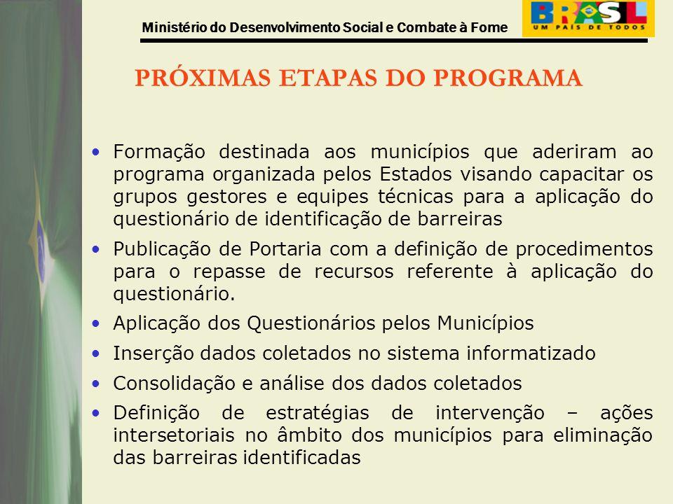Ministério do Desenvolvimento Social e Combate à Fome PRÓXIMAS ETAPAS DO PROGRAMA Formação destinada aos municípios que aderiram ao programa organizad