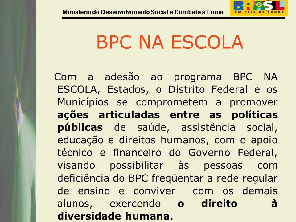 Ministério do Desenvolvimento Social e Combate à Fome BPC NA ESCOLA Com a adesão ao programa BPC NA ESCOLA, Estados, o Distrito Federal e os Município